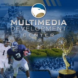 multimedia development center collage of photos including football players and an Emmy award